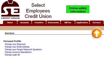 Home Banking Login Change Screen for Select Employees Credit Union